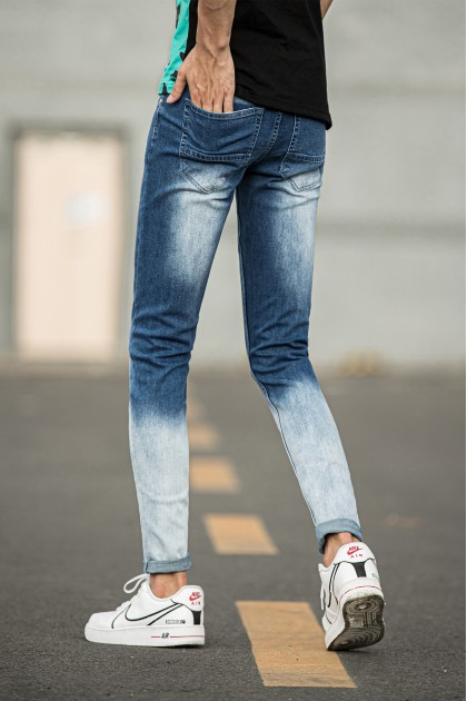 Cream Blue Skinny Jeans