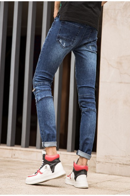 REBEL Zipper Dark Blue Jeans